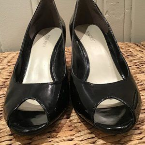 Open Toe Black Patent Wedge Shoes